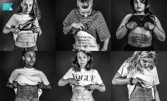 collage jonge meiden met op hun buik geschreven Zolang het nodig is schrijven wij op onze buik