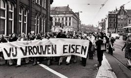 abortusdemonstratie Wij Vrouwen Eisen, Amsterdam, Raadhuisstraat, 1976?
