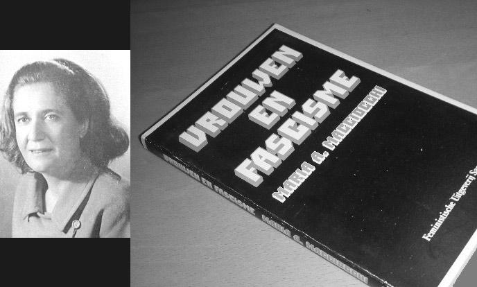 portret van marie antonieetta machiocchi en haar boek vrouwen en fascisme