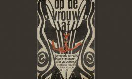 affiche met korset in zwart-wit met roodbruin lint door het papier geweven met tekst breek eruit en kom naar