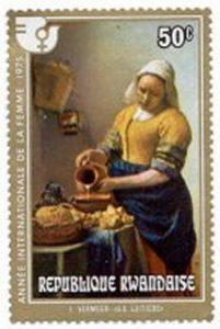 het melkmeisje van vermeer op postzegel uit rwanda