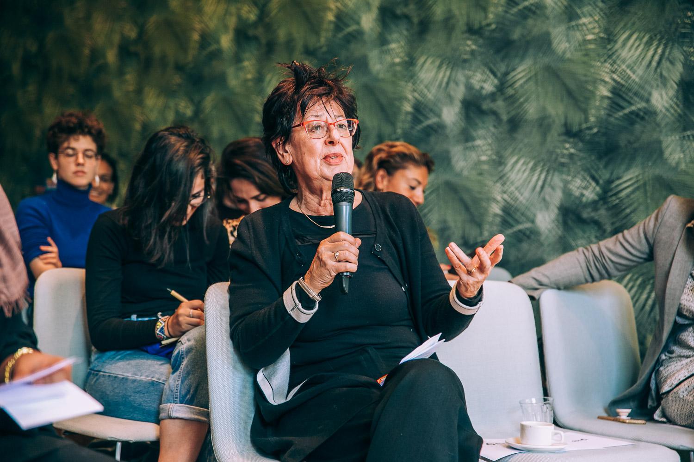 Renée Römkens tijdens het F-lab met Seyran Ates fotograaf Jaap Beyleveld