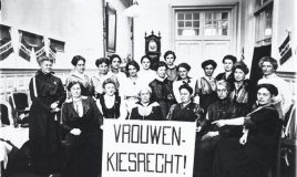 propaganda committee for women's suffrage in the hague with the dutch word vrouwenkiesrecht that means women's suffrage
