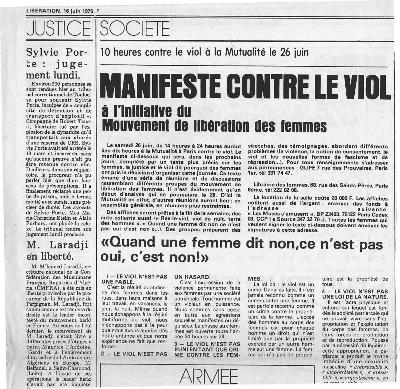 Manifeste féministe contre le viol