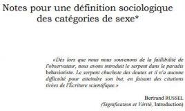 définition sociologique des catégories de sexe