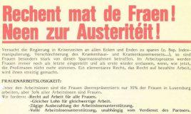 Rechent mat de Fraen! Neen zur Austeritéit!