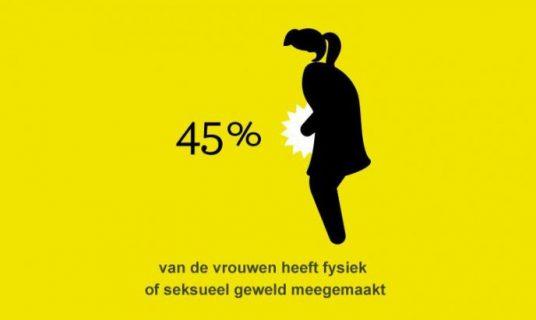 infographic 45% van de vrouwen heeft fysiek of seksueel geweld meegemaakt