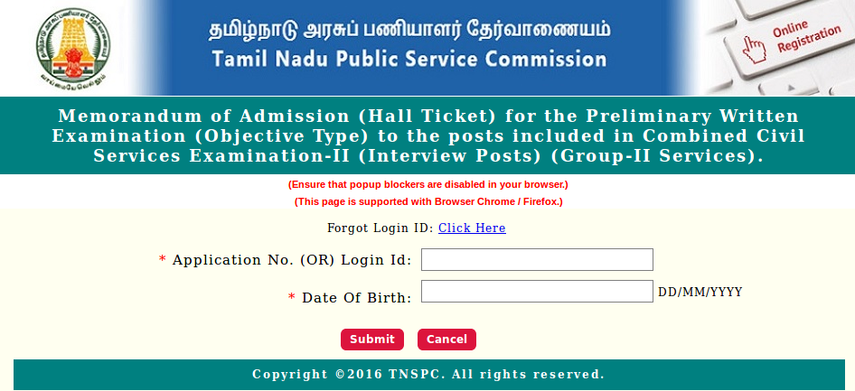 Tnpsc Group 2a Hall Ticket In Pdf