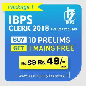 IBPS CLERK Prelims - Test Series Package - bankersdaily