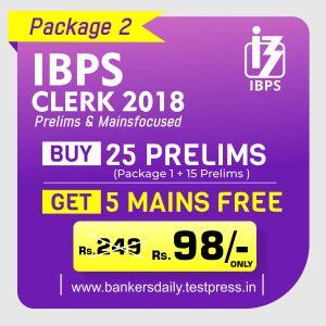 IBPS CLERK Prelims Exam 2018 - Online Test Series Package - Bankersdaily