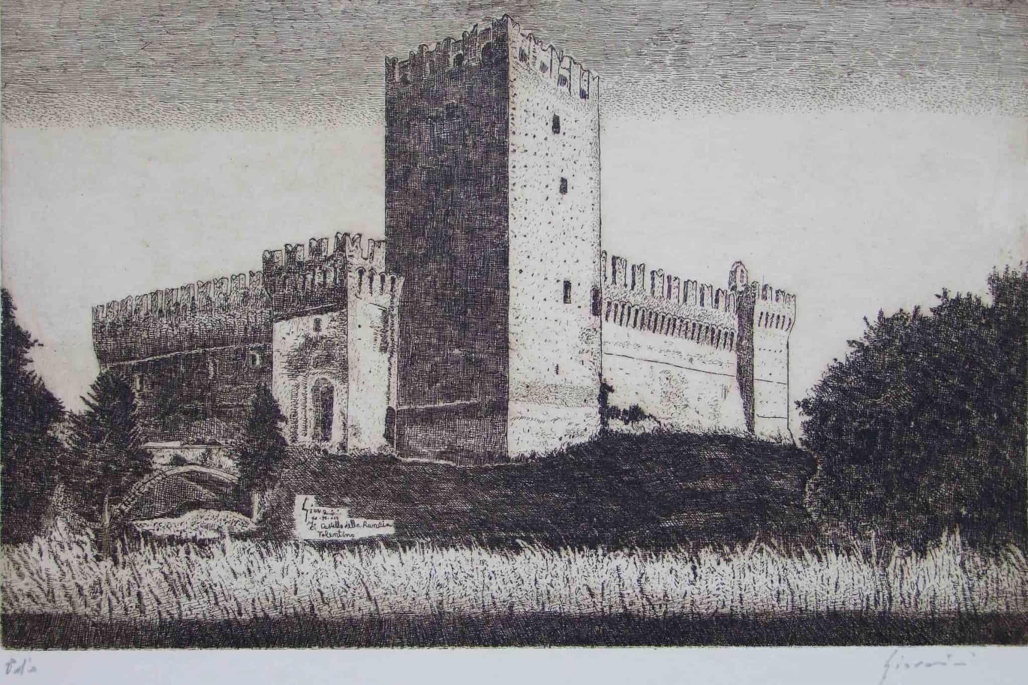 Il castello della Rancia di Tolentino. Incisione di David Giovannini