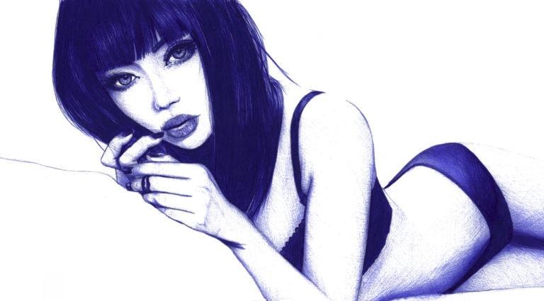 Ilustración realista a bolígrafo Bic azul de una chica acostada