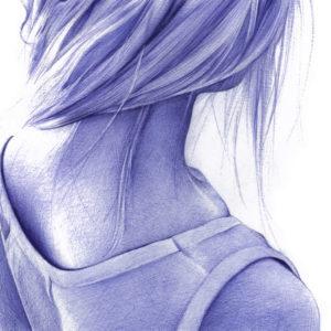 Ilustración realista a bolígrafo Bic azul de una chica de espaldas