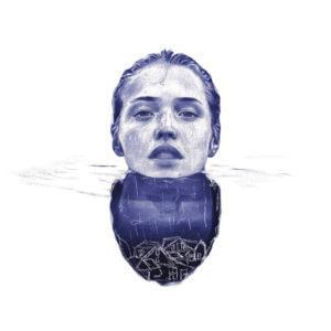 Ilustración realista a bolígrafo Bic azul de una chica sumergida en el agua