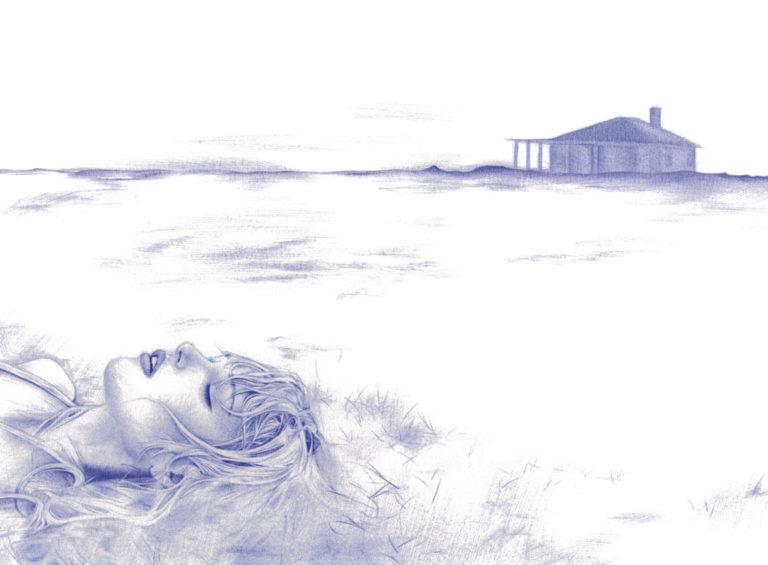 Ilustración realista a bolígrafo Bic azul de una chica acostada en la arena
