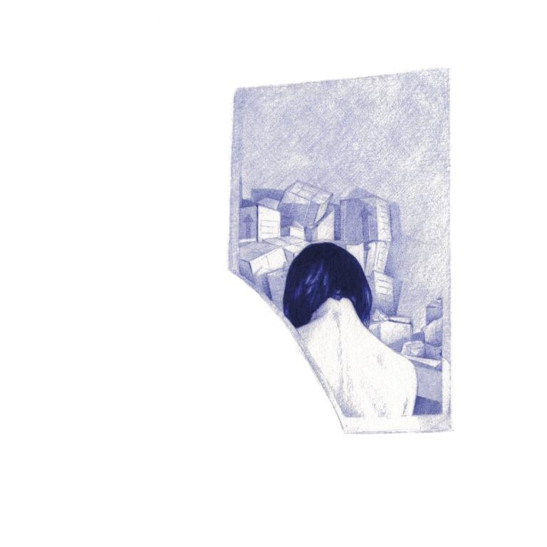 Ilustración realista a bolígrafo Bic azul de una chica reflejada en un espejo