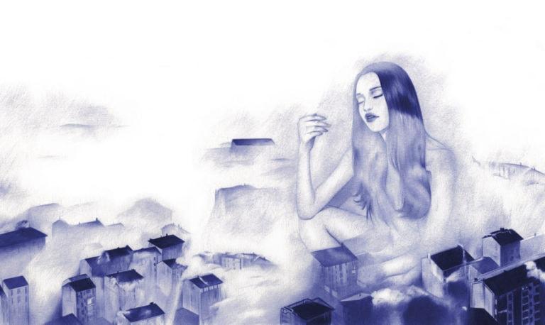 Ilustración realista a bolígrafo Bic azul de una chica sentada entre edificios nublados