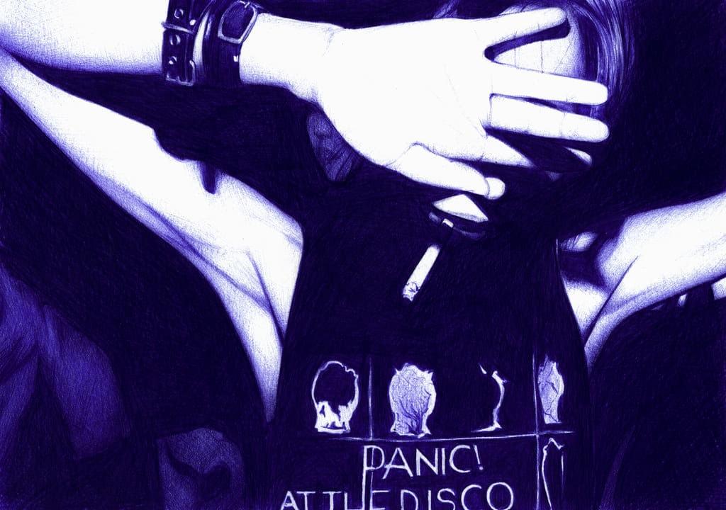 Ilustración realista a bolígrafo Bic azul de una chica fumando tapándose la cara