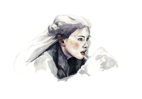 Ilustración en acuarela de Liv Tyler como Arwen en Lord of the Rings