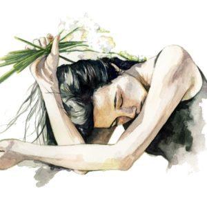 Ilustración en acuarela de una chica asiática con un ramo de flores