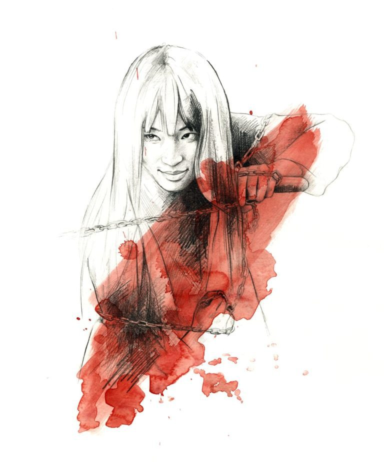 Ilustración en acuarela de Gogo Yubari en Kill Bill de Tarantino