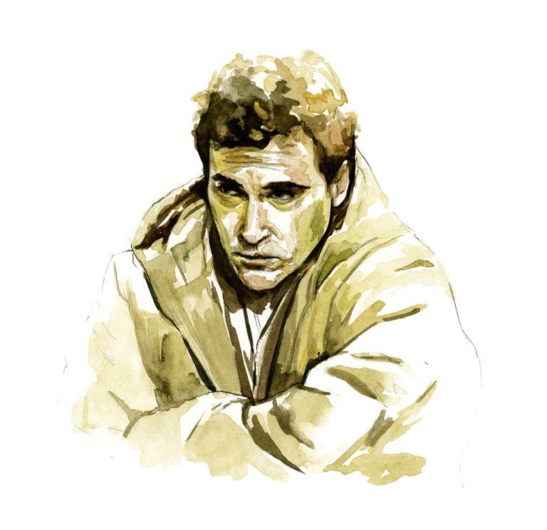 Ilustración en acuarela del actor Joaquin Phoenix