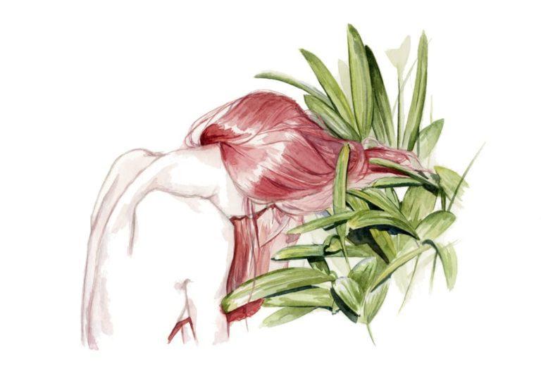 Ilustración en acuarela de una chica de espaldas y unas plantas