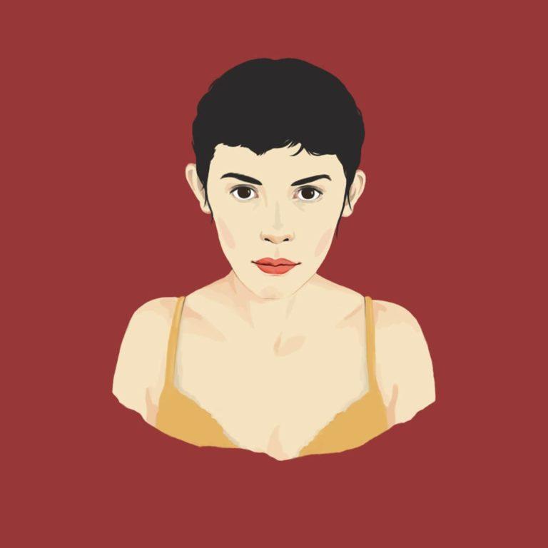 Ilustración digital de Audrey Tautou en la película Amélie