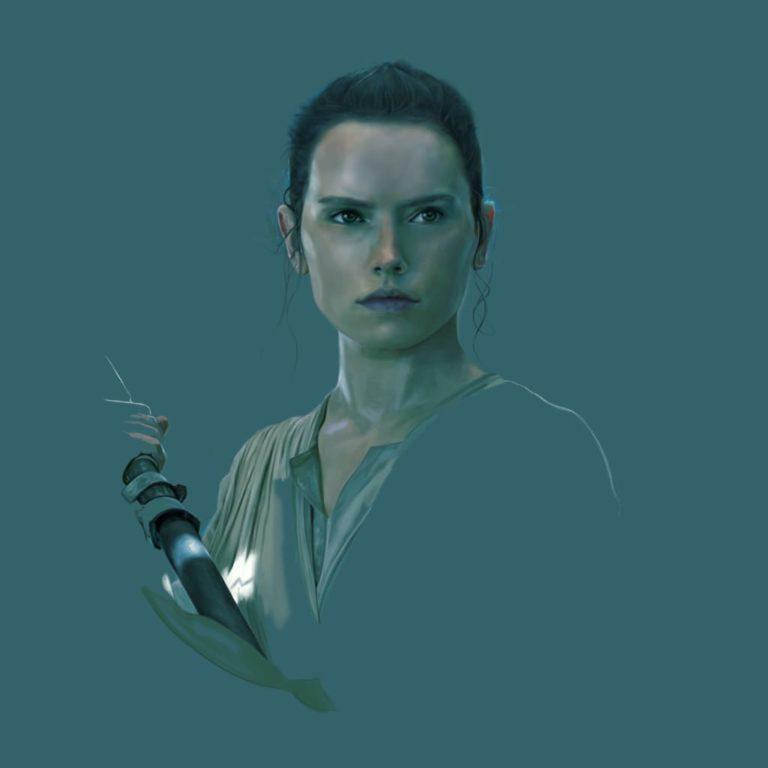 Ilustración digital de Rey en la película Star Wars