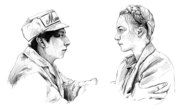 Retrato a lápiz de Zero y Agatha en The Grand Hotel Budapest
