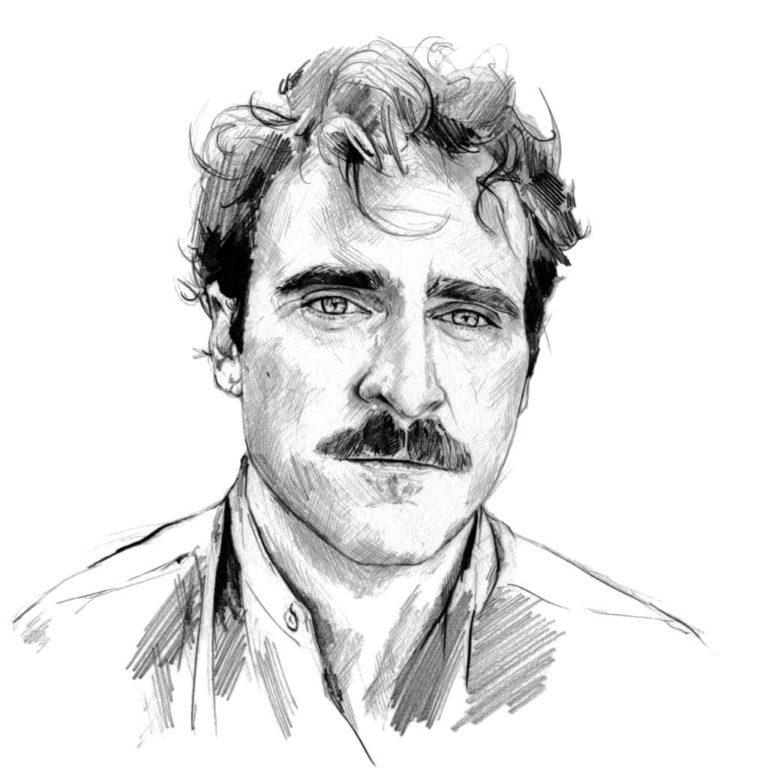 Retrato a lápiz de Joaquin Phoenix en la película Her