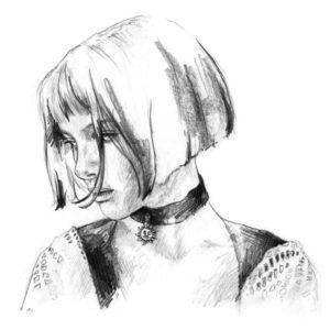 Retrato a lápiz de Natalie Portman en la película Léon: The Professional