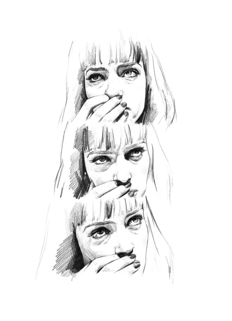 Retrato a lápiz de Uma Thurman como Mia Wallace en Pulp Fiction