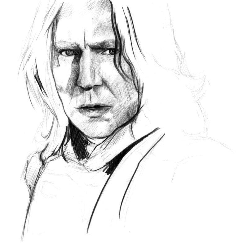 Retrato a lápiz de Snape en la película Harry Potter