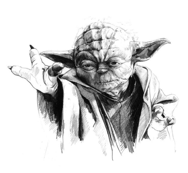 Retrato a lápiz de Yoda en la película Star Wars