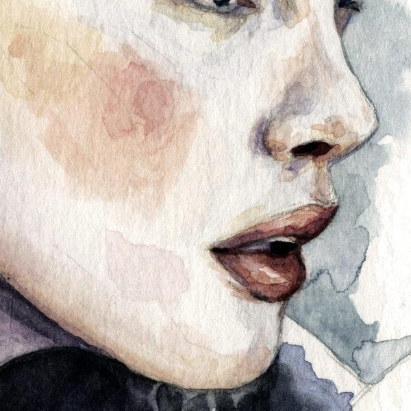 Detalle de acuarela de Liv Tyler como Arwen en Lord of the Rings