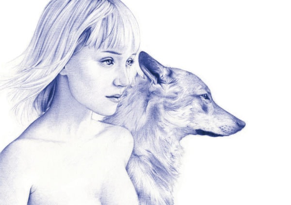 Ilustración realista a bolígrafo Bic azul de una chica con un lobo