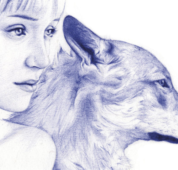 Detalle de ilustración realista a bolígrafo Bic azul de una chica con un lobo