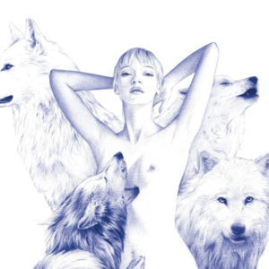 Ilustración realista a bolígrafo Bic azul de una chica rodeada de lobos