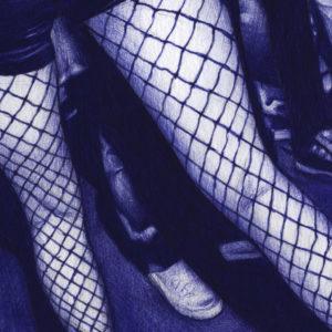 Detalle de ilustración realista a bolígrafo Bic azul de unas piernas en un club