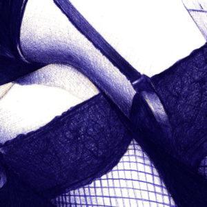 Detalle de ilustración realista a bolígrafo Bic azul del culo de una chica
