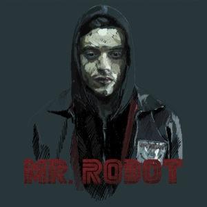 Ilustración digital de Rami Malek en la serie MR. Robot