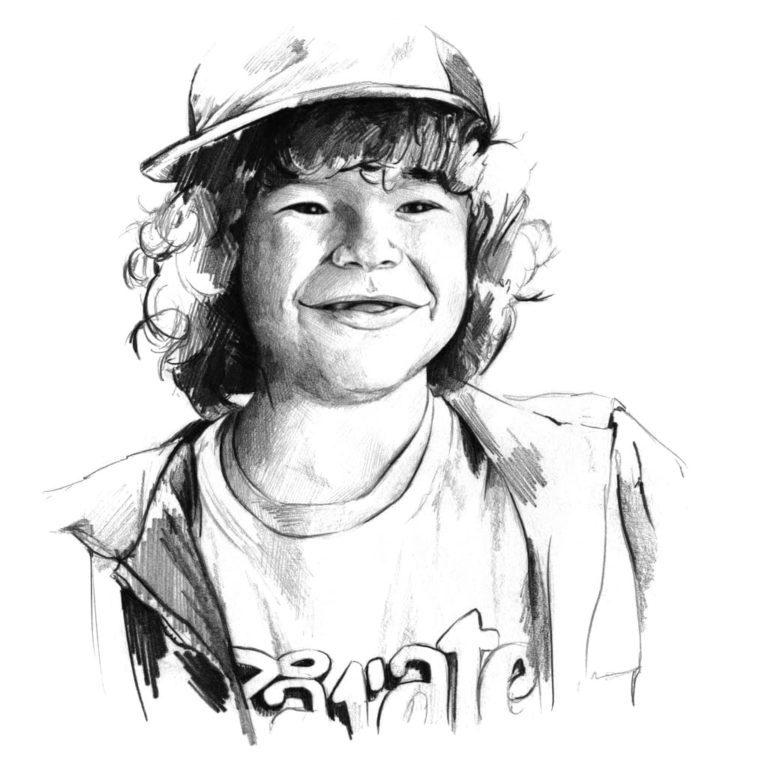 Retrato a lápiz de Dustin en la serie Stranger Things