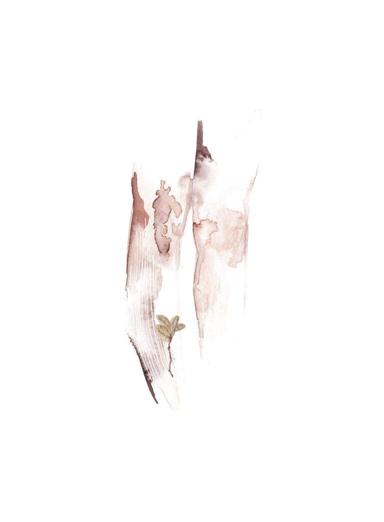 Acuarela de unas piernas con una flor bordada