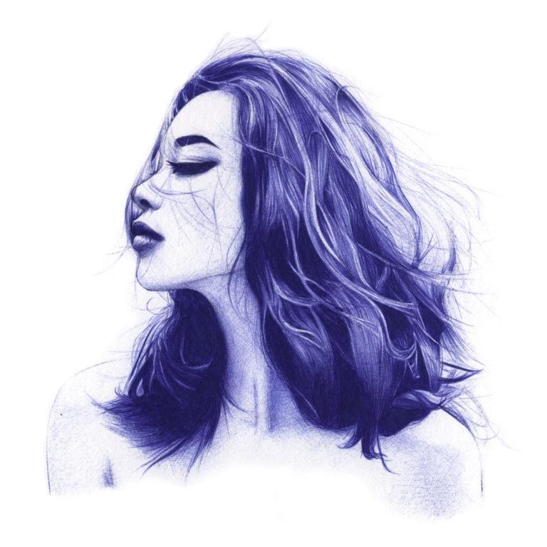 Ilustración realista a bolígrafo Bic azul de una chica con los ojos cerrados