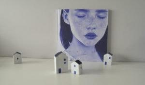 Álbum ilustrado a bolígrafo Bic azul y casas de madera