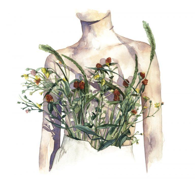Ilustración en acuarela del cuerpo de una chica cubierto de plantas