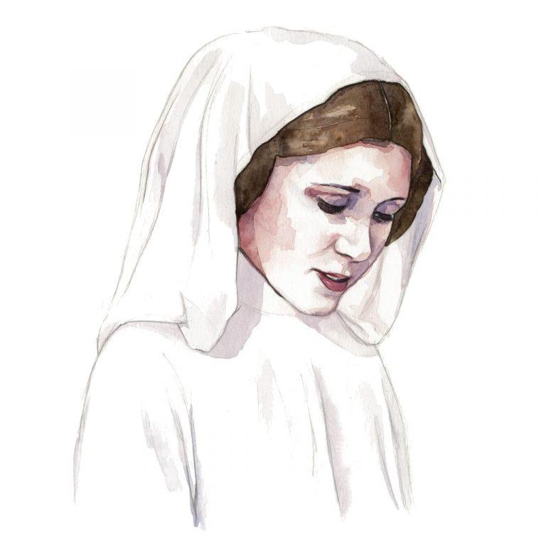 Ilustración en acuarela de Carrie Fisher como la princesa Leia en Star Wars