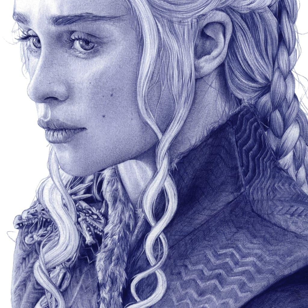 Detalle de una ilustración a bolígrafo Bic de Emilia Clarke como Daenerys Targaryen en Game of Thrones