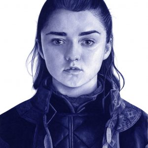 Ilustración a bolígrafo Bic de Maisie Williams como Arya Stark en Game of Thrones